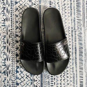 Men's Salvatore Ferragamo Black Slides Croc Sz 12